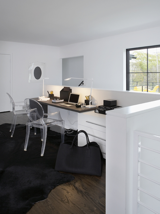 Chic home office on second floor landing featuring a contemporary built in  desk for two with wooden counter accented with white task lamps and lined  with  See Through Task Chair Design Ideas. See Through Office Chairs. Home Design Ideas