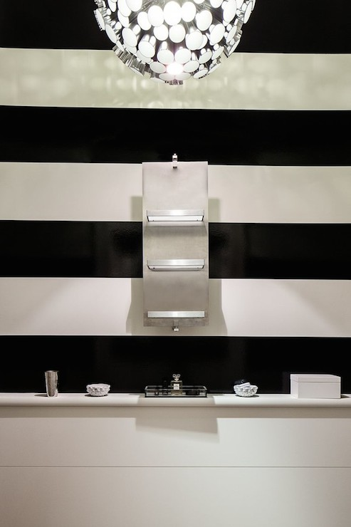 Black and white striped wall contemporary bathroom for Black and white striped bathroom accessories