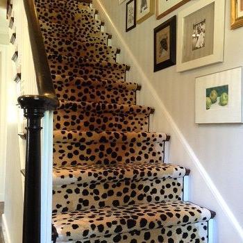 Cheetah Stair Runner, Contemporary, entrance/foyer, Erin Gates Design