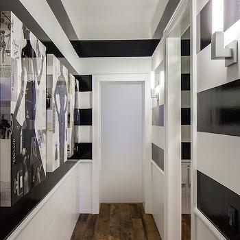 Black and White Striped Walls, Contemporary, bathroom, Chambers and Chambers Architects