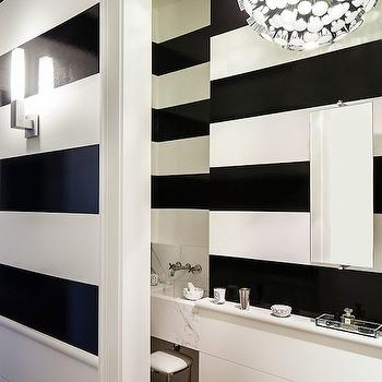 Black and White Stripe Walls, Contemporary, bathroom, Chambers and Chambers Architects