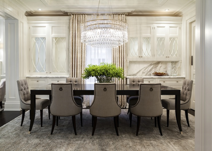 Gray Tufted Dining Chairs Traditional Dining Room