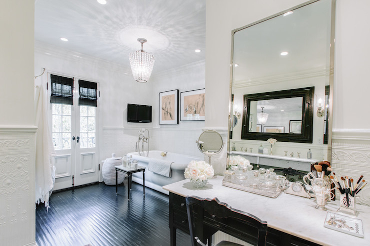 free standing makeup vanity. French Makeup Vanity  Transitional bathroom Abbott Moon