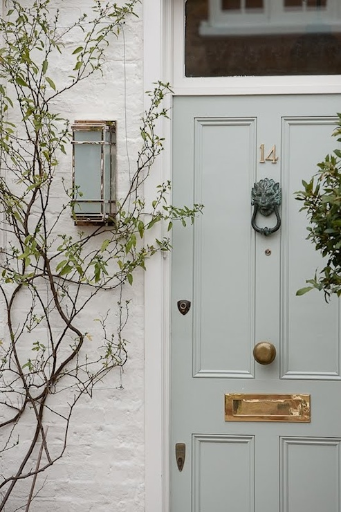 gray front door transitional home exterior sarah berry