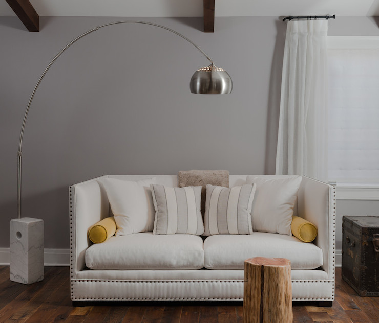 High back sofa transitional living room beckwith for Arch floor lamps for living room