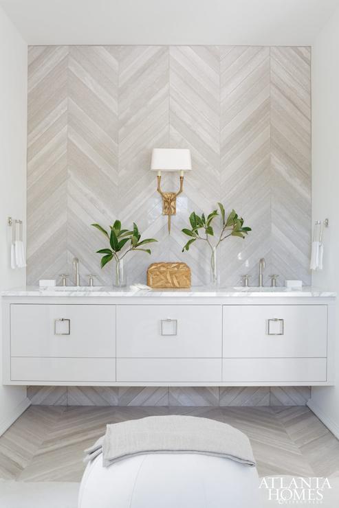 Herringbone Accent Wall Contemporary Bathroom