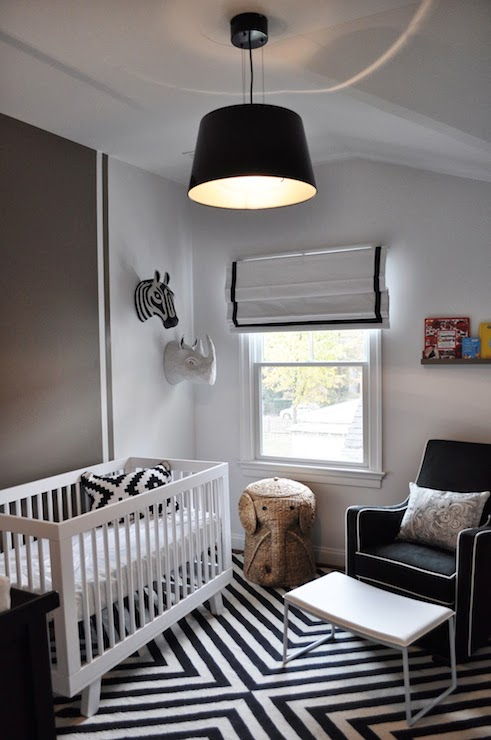 Black And White Nursery Contemporary Nursery Jws