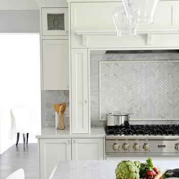 Herringbone Backsplash Transitional kitchen Cote de