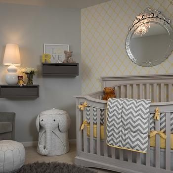 Yellow and Gray Nursery, Contemporary, nursery, Porters Paint Fog, Beckwith Interiors