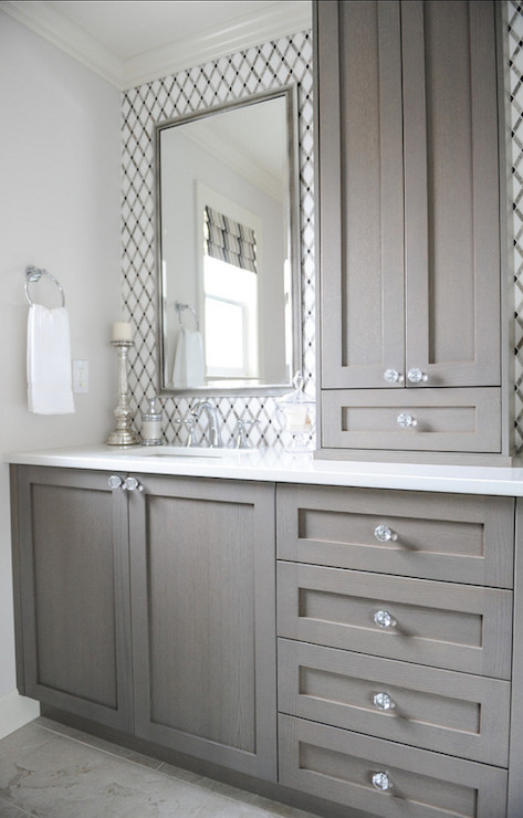 Gray washed cabinets contemporary bathroom enviable for Grey white bathroom ideas