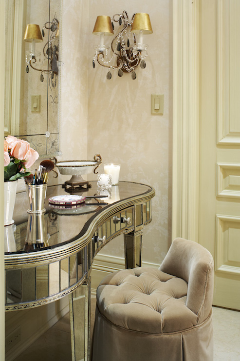 Mirrored vanity transitional bedroom traditional home for Celebrity dressing room mirror