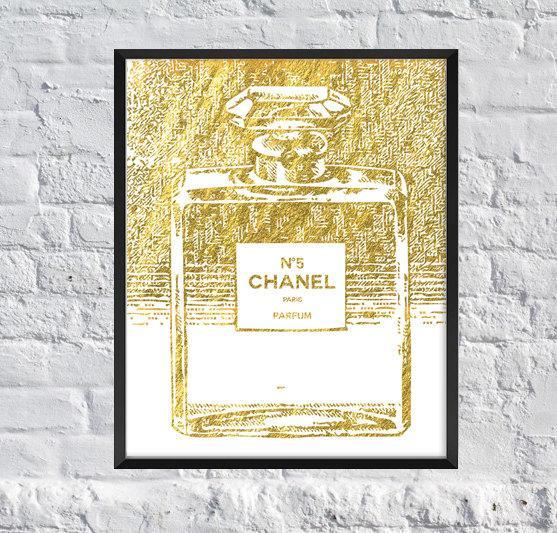 Chanel Perfume Gold Foil Inspire Art Print