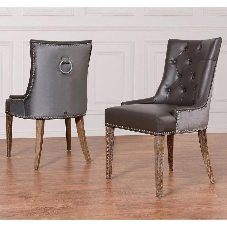 Uptown Grey Leather Velvet Dining Chair