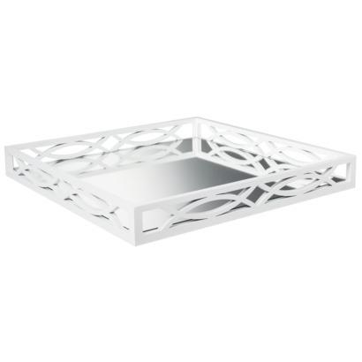 Threshold Square White Fretwork Mirrored Tray