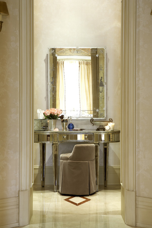 Staggered lanterns over makeup vanity mediterranean closet for Celebrity dressing room mirror