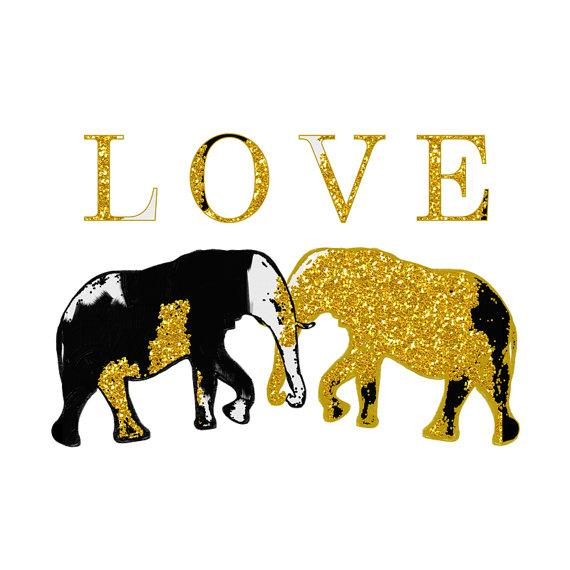 Gold and Black Elephant Love Illustration Print
