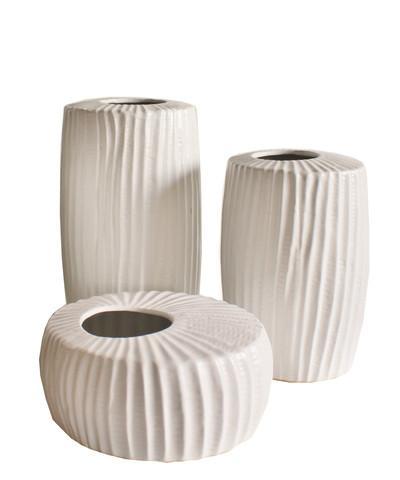 White Ceramic Ridge Vases