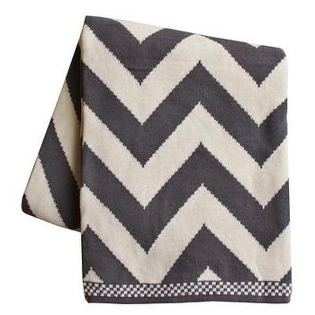 Chevron Knit Throw Blanket, Charcoal I High Street Market