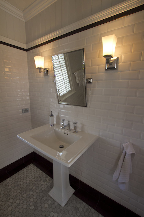 Stunning Bathroom With Top Part Of Walls Clad In Gray Beadboard Accented  With White Chair Rail And Black Pencil Tiles As Well As Beveled Subway  Tiles ...