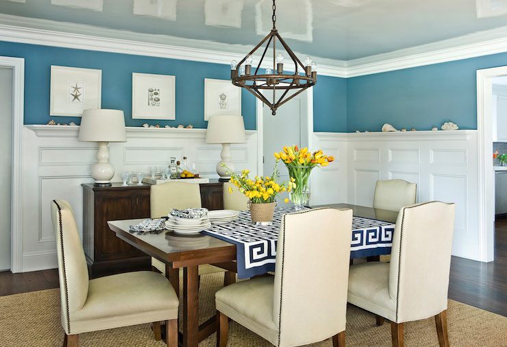 Dining room wainscoting cottage dining room andrew for Dining room ideas cream