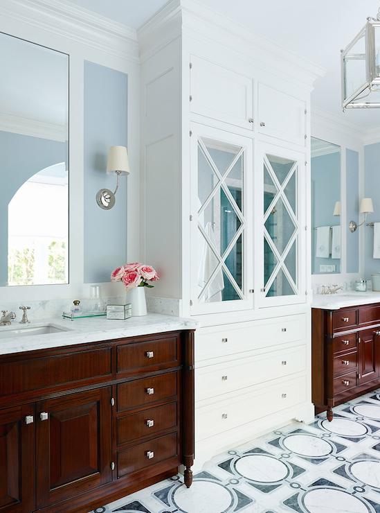 Mirrored Linen Cabinet Transitional Bathroom Andrew Howard Interior Design