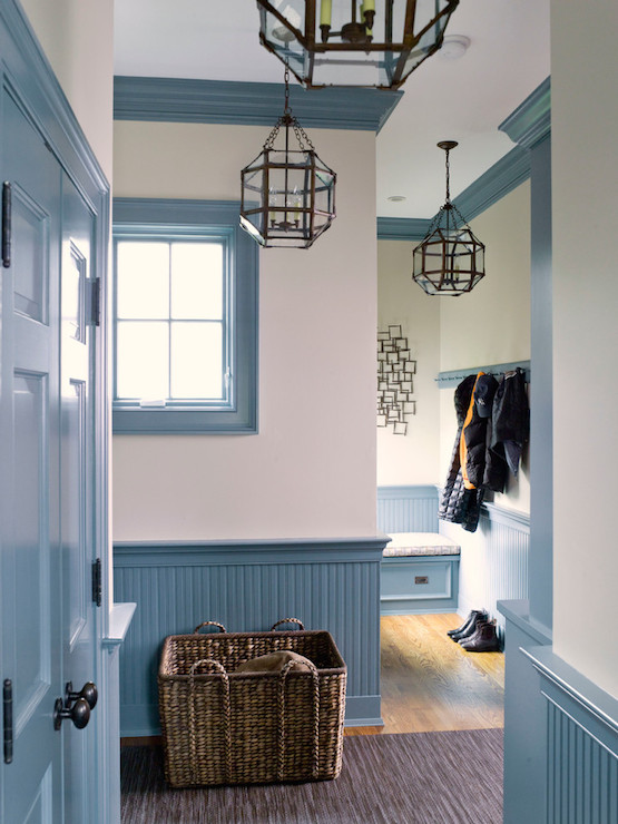 Fabulous Hallway With Blue Closet Doors And Blue Beadboard