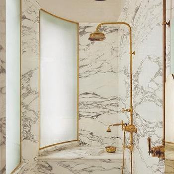 Curved Shower, Eclectic, bathroom, The World of Interiors