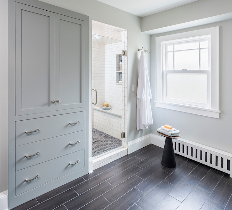 built in linen cabinet transitional bathroom