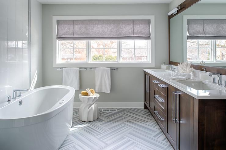Striped Marble Floor Contemporary Bathroom Refined Llc