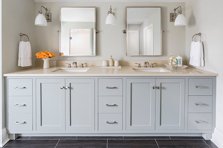 Gorgeous Bathroom Features Partition Separating Toilet From Pottery Barn  Covington Articulating Single Sconces Flanking Rectangular Pivot Mirrors  Over Gray ...