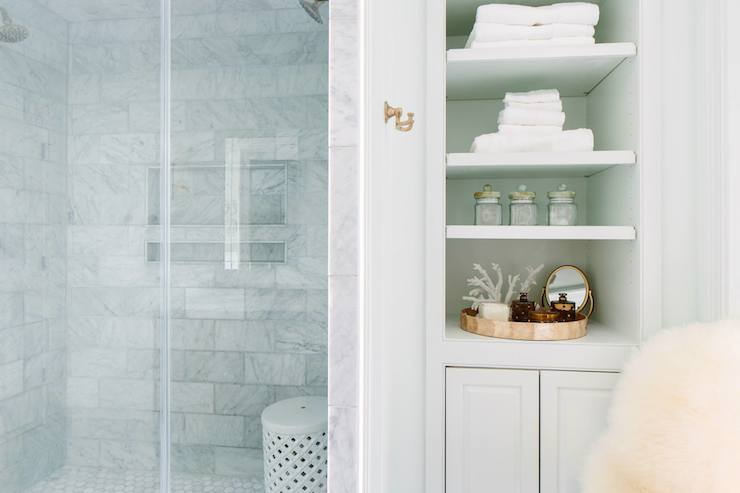 Built In Linen Cabinet Transitional Bathroom Benjamin Moore Fieldstone Casa Verde Design