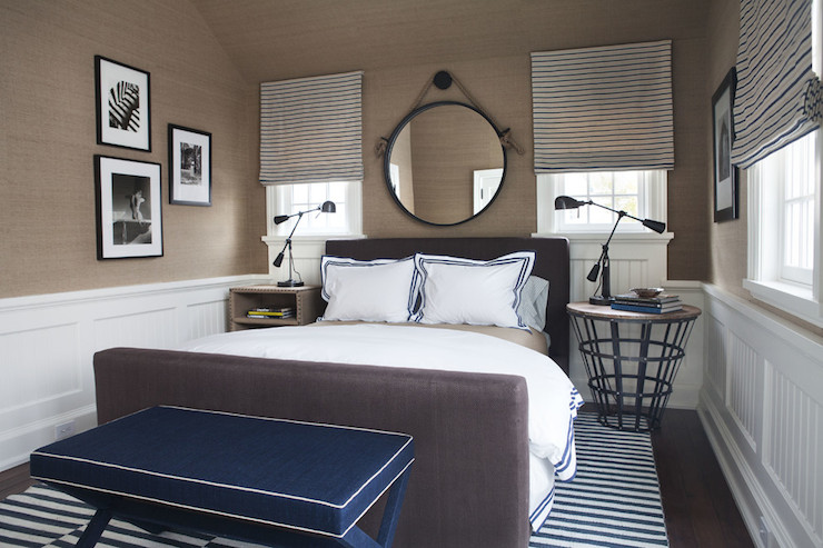 Navy x bench cottage bedroom sb long interiors for Blue and taupe bedroom ideas