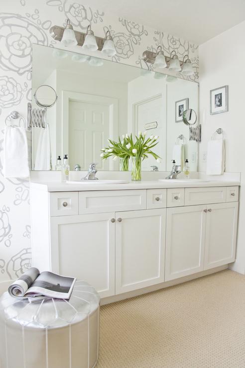 Petal pusher wallpaper transitional bathroom boxwood for Bathroom wallpaper next