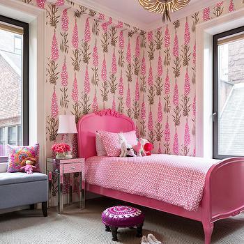 Pink Baroque Bed, Transitional, girl's room, Benjamin Cruz Designs