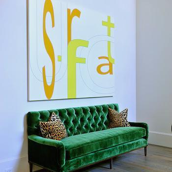 Emerald Green Sofa, Contemporary, entrance/foyer, Munger Interiors