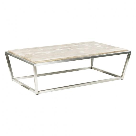 Petrified White Wood Rectangle Coffee Table