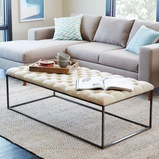 Charmant Tufted Ivory Coffee Table