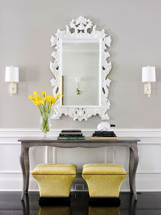 Grey Foyer Table : Yellow and gray entry transitional entrance foyer bhg