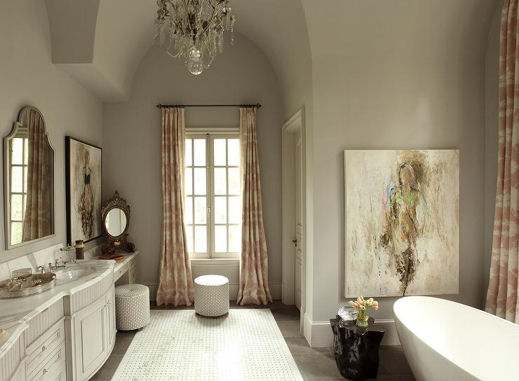 Gray Bathroom Ideas Interior Design ~ Pink patterned curtains transitional bathroom farrow