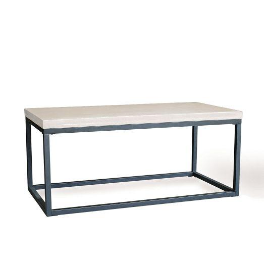 Slab Box Frame White Coffee Table