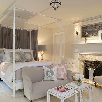 Drapes Behind Bed, Transitional, bedroom, SB Long Interiors