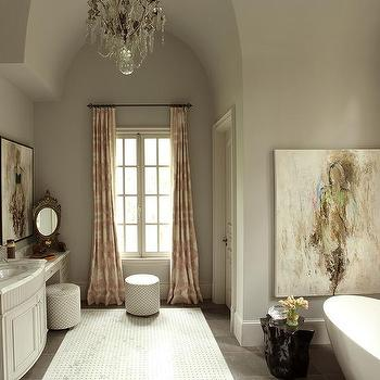 Pink Patterned Curtains, Transitional, bathroom, Farrow and Ball Pavilion Gray, J. Hirsch Interior Design