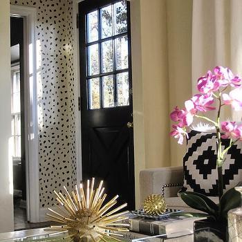 Cheetah Print Stencil, Transitional, living room, Simple Details