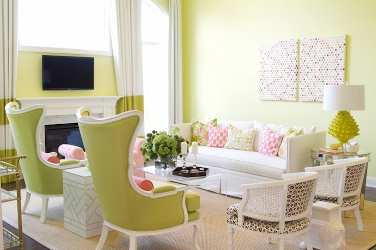 Striped Curtains Contemporary Living Room Pittsburgh Paints Lemon Pepper Alisha Gwen