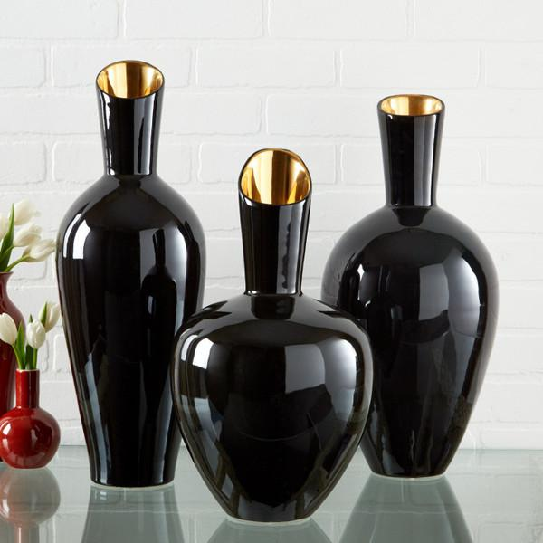 Noir Gold Set Of 3 Decorative Vases