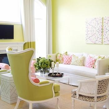 Striped Curtains, Contemporary, living room, Pittsburgh Paints Lemon Pepper, Alisha Gwen