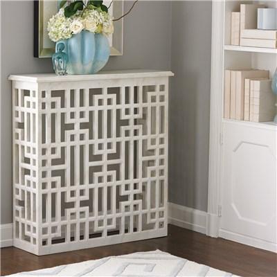 Global Views Furniture White Marble Gridblock Console