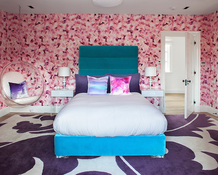 view full size  Bold bedroom with pink cherry blossom wallpaper. Blue Tie Dye Bench Design Ideas