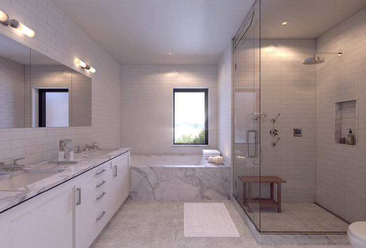 Mirrored Tub Surround - Transitional - bathroom - Finchatton