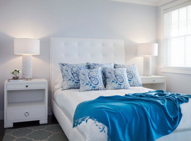 Ice blue faux suede design ideas for Blue white and silver bedroom ideas